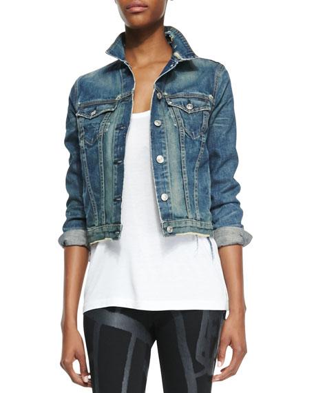 Distressed Cropped Jean Jacket