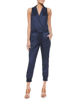 7 For All Mankind Sleeveless Chambray Jumpsuit