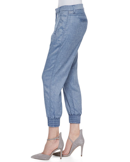 Draped Ankle Pants with Smocked Hem, Chambray