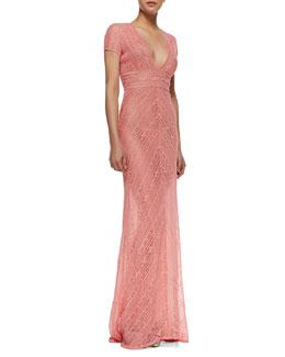 Naeem Khan Short Sleeve Lace Column Gown, Coral