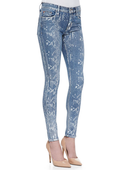 Nico Super Skinny Copperhead Snake-Print Jeans