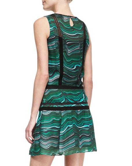 Lace-Panel Printed Silk Dress