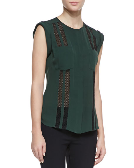 Lace-Stripe Cuffed-Shoulder Blouse