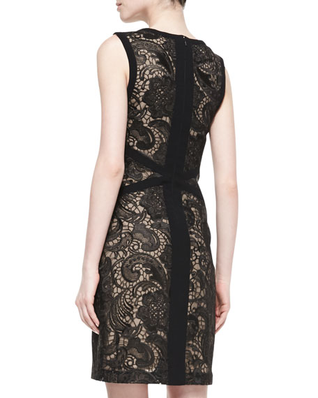 Sleeveless Embroidered Illusion Cocktail Dress