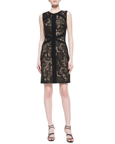 ML Monique Lhuillier Sleeveless Embroidered Illusion Cocktail Dress