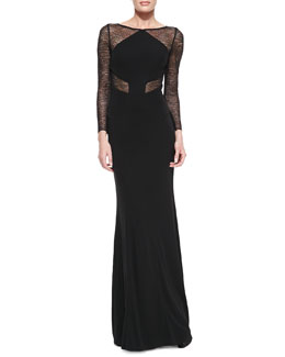ML Monique Lhuillier Long-Sleeve Lace Insert Gown