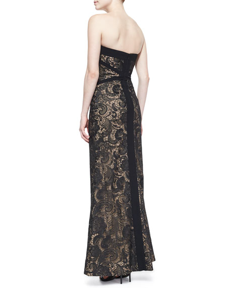 Strapless Embroidered Mesh Gown