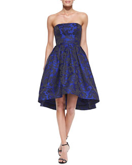 ML Monique Lhuillier Strapless High-Low Cocktail Dress