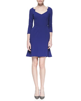 ZAC Zac Posen Crepe Long-Sleeve V-Neck Dress