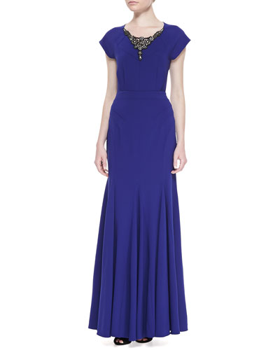 ZAC Zac Posen Short-Sleeve Embellished-Neck Gown