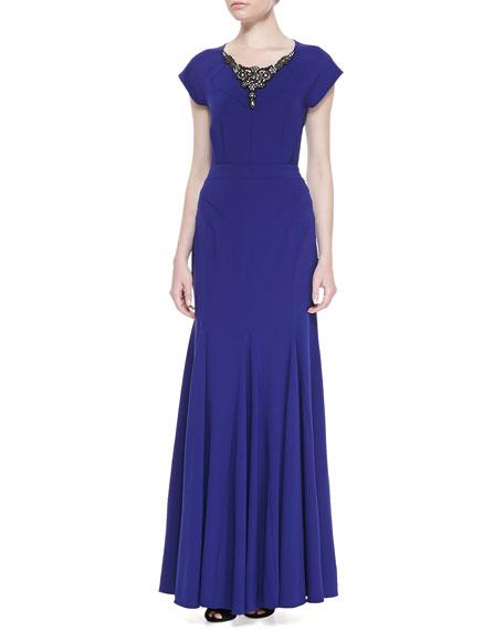Short-Sleeve Embellished-Neck Gown