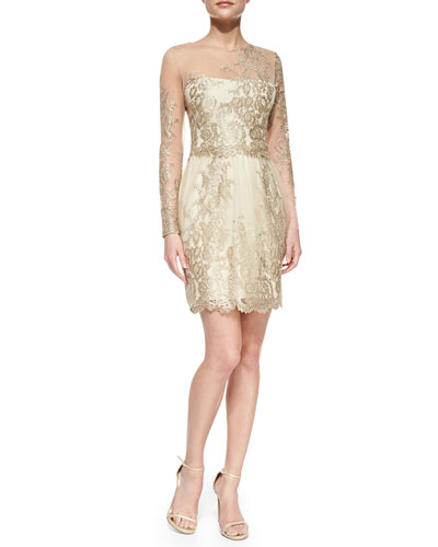 Notte by Marchesa Long-Sleeve Embroidered Overlay Cocktail Dress