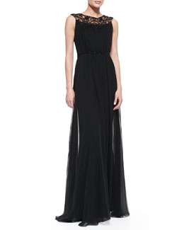 Notte by Marchesa Sleeveless Draped Beaded Bodice Gown
