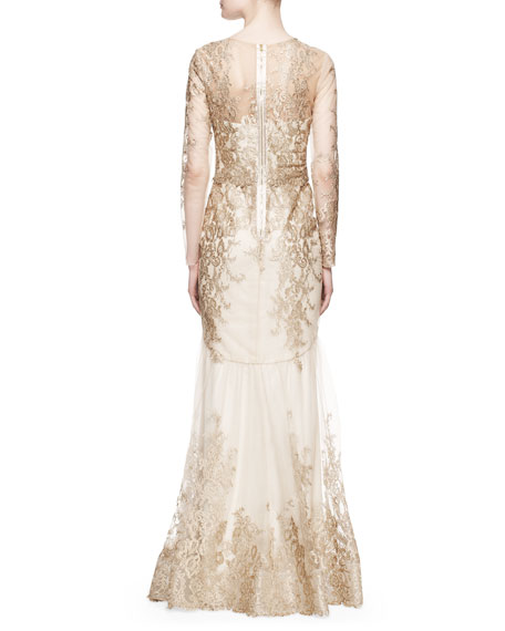 Notte By Marchesa Long Sleeve Lace Illusion Mermaid Gown Gold