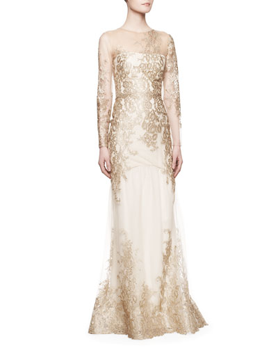 Notte by Marchesa Long-Sleeve Lace Illusion Mermaid Gown, Gold
