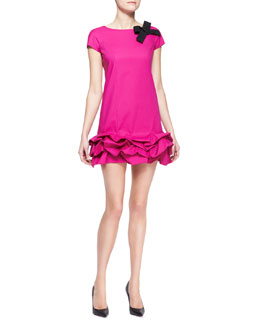 Paule Ka Short-Sleeve Dress with Ruffled Hem, Fuchsia