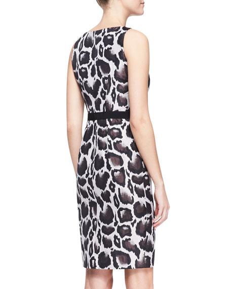 Animal Jacquard Dress, Brown/Multicolor