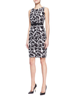 Paule Ka Animal Jacquard Dress, Brown/Multicolor