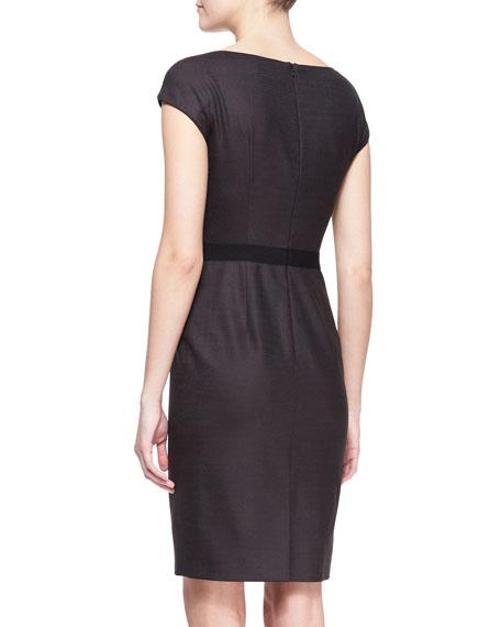 Cap-Sleeve Dress with Grosgrain Waist, Brown