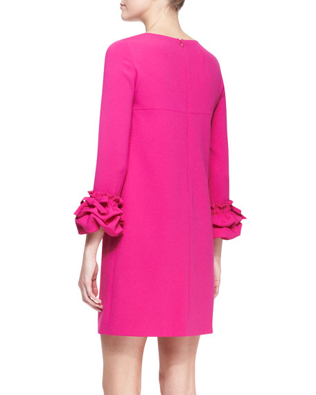 Long-Sleeve Dress with Ruffle Cuffs, Fuchsia
