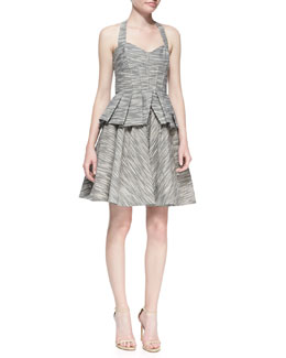 ZAC Zac Posen Printed Twill Halter-Neck Fit-And-Flare Dress