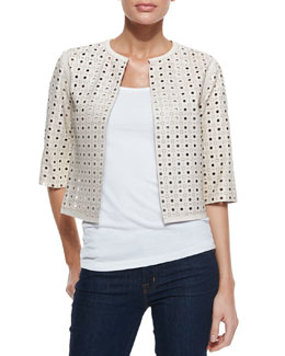 Neiman Marcus 3/4-Sleeve Perforated Leather Jacket
