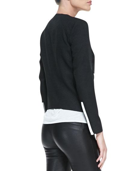 Contrast-Trim Crepe Moto Jacket
