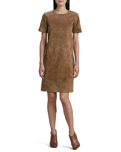 Neiman Marcus Suede Zip-Pocket Shift Dress