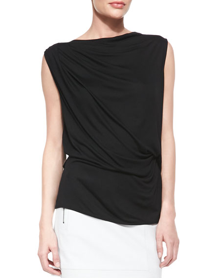 Helmut Lang Draped Cross-Back Jersey Top
