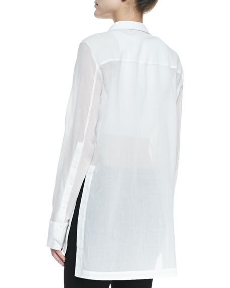 Veil Sheer Long-Sleeve Blouse