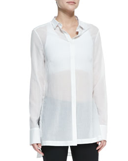 Helmut Lang Veil Sheer Long-Sleeve Blouse