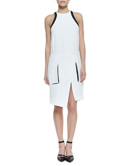 Helmut Lang Sugar Two-Tone Faux-Wrap Dress