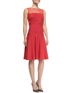 Tadashi Shoji Sleeveless Illusion-Neck Pleated Cocktail Dress