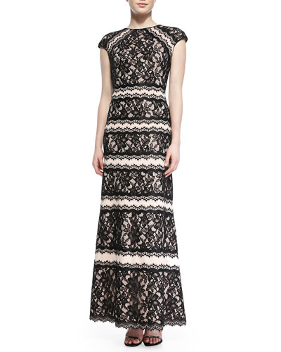 Tadashi Shoji Cap-Sleeve Tiered Lace Gown