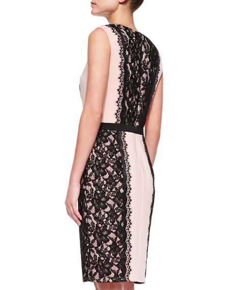 Sleeveless Alternating Lace Cocktail Dress