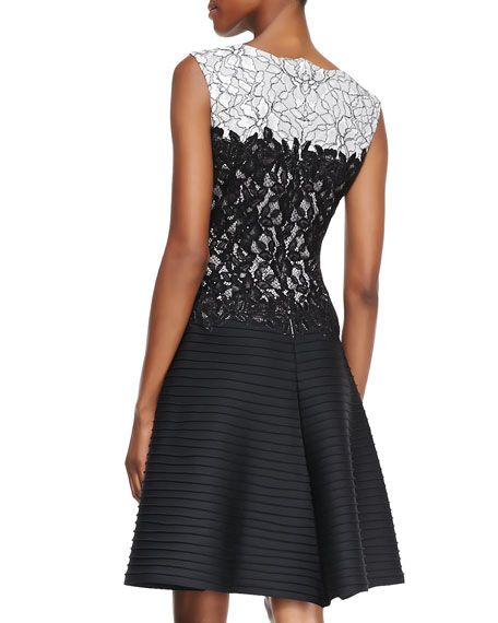 Sleeveless Lace-Bodice Pintuck-Skirt Cocktail Dress