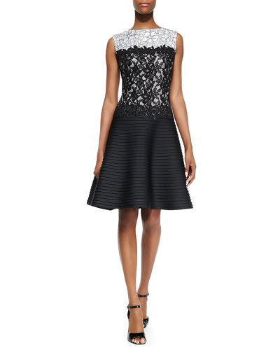 Tadashi Shoji Sleeveless Lace-Bodice Pintuck-Skirt Cocktail Dress