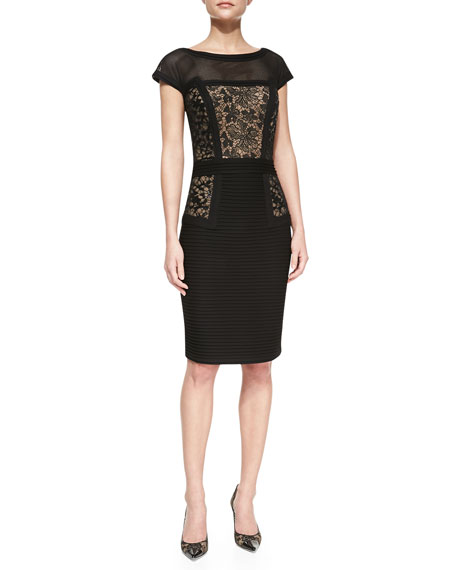 Paneled Lace Overlay Cocktail Dress
