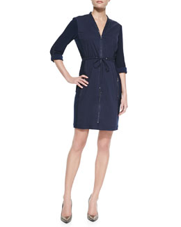 T Tahari Layden Drawstring Zip-Front Dress
