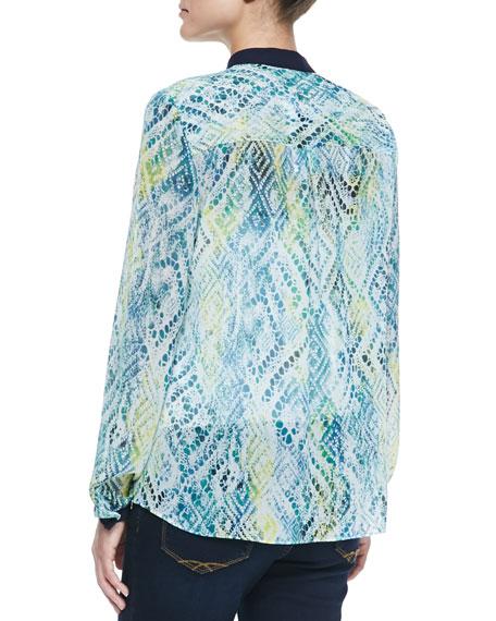 Delaney Long-Sleeve Printed Blouse