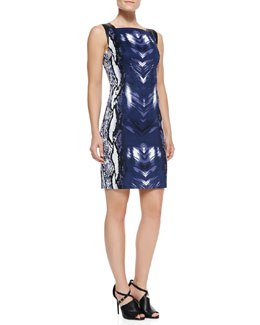 T Tahari Torrence Sleeveless Snake-Print Dress
