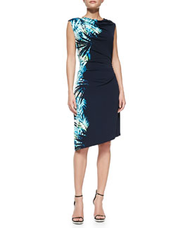 T Tahari Kelly Tropic-Print Dress