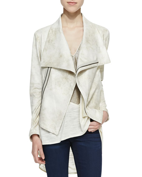 Queensway Asymmetric Faux-Leather Jacket, Gold