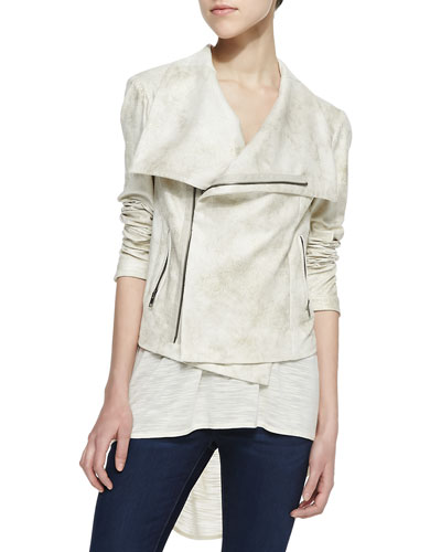 SW3 Bespoke Queensway Asymmetric Faux-Leather Jacket, Gold