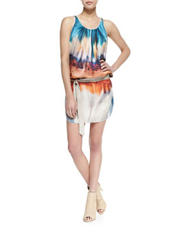 SW3 Bespoke Notley Sleeveless Desert Print Dress