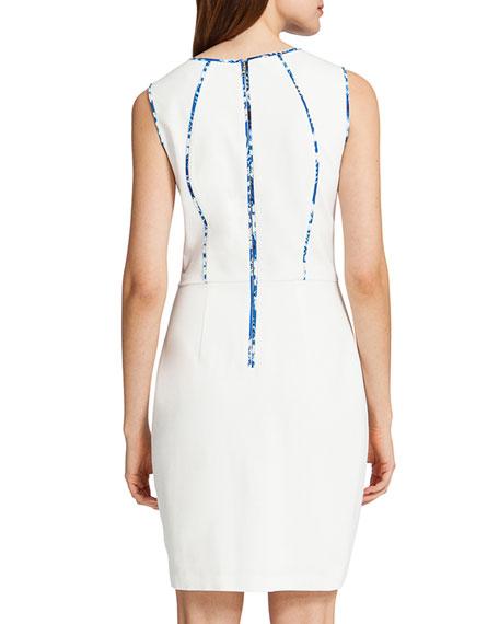 Carter Sleeveless Prism-Front Sheath Dress