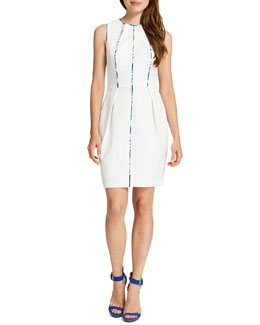 Cynthia Steffe Carter Sleeveless Prism-Front Sheath Dress