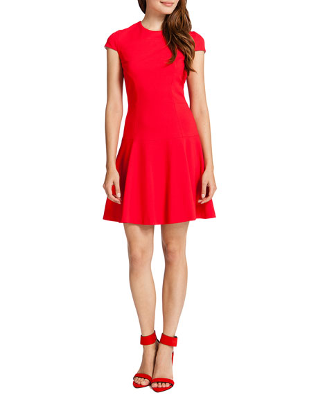 Tink Cap-Sleeve Flared Dress, Red Apple