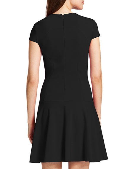 Tink Cap-Sleeve Flared Dress, Rich Black