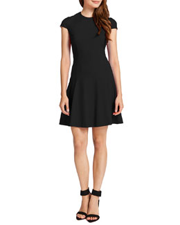 Cynthia Steffe Tink Cap-Sleeve Flared Dress, Rich Black